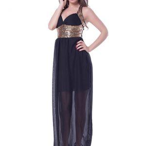 Black Color Sequins Clubwear Dress