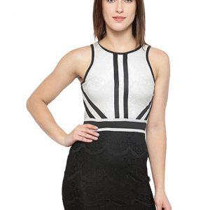 White-Black Color White & Black Colored Solid BodyCon Partywear dress