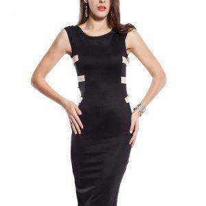 Black Color Cut-out & flattering skater Dress