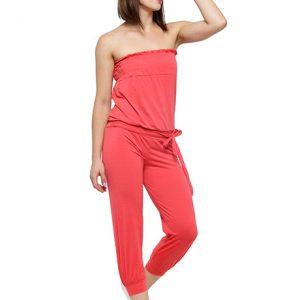 Orange Color Solid Colored Jumpsuit with waist belt.