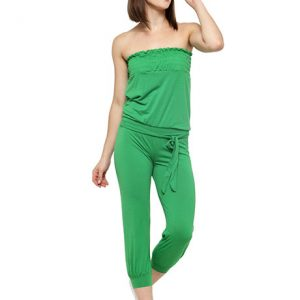 Green Color Solid Colored Jumpsuit with waist belt.