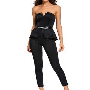 Black Color Elegant Bandeau Peplum Jumpsuit