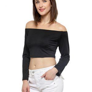 Black Color Off-The-Shoulder Knit Crop Top