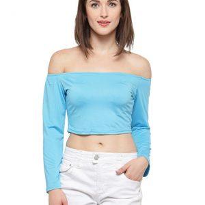 Blue Color Off-The-Shoulder Knit Crop Top