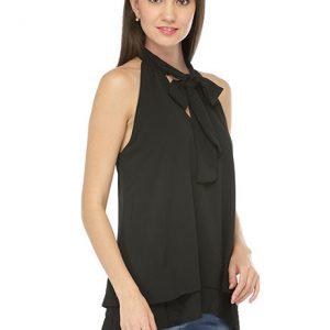 Black Color Black Double Cascading Ruffle Neck Tie Sleeveless Top