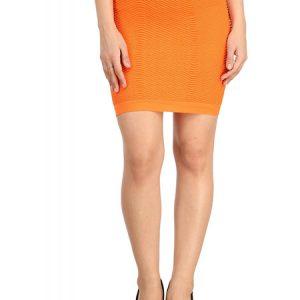 Orange Thick Fold Strap Mini Skirt