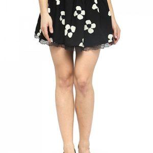 Cream Flower Print Black High-Waisted Flared Skirt