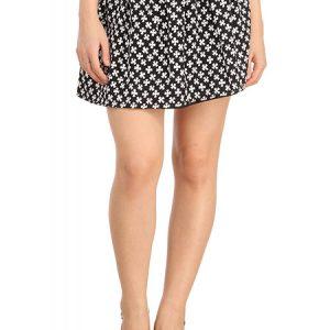 White Flower Print Black Shiny Waisted Flared Skirt