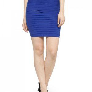 Blue Color Thick Fold Strap Mini Skirt