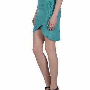 Green Color Draped Knee Length Skirt
