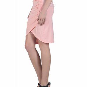 Pink Color Draped Knee Length Skirt
