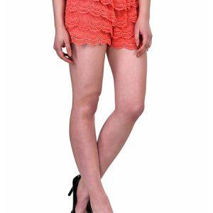 Orange Color Lace Shorts Base Shorts