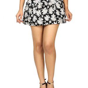 Beige & Black Color Wonderful Daisy Print High-Waisted Skirt