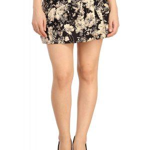 Beige Color Wonderful Daisy Print High-Waisted Skirt