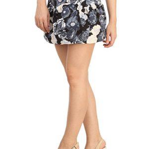 Blue Color Wonderful Daisy Print High-Waisted Skirt