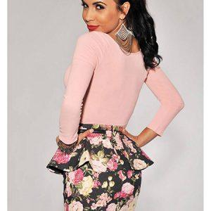 Grey Multi Color Floral Print Peplum Skirt