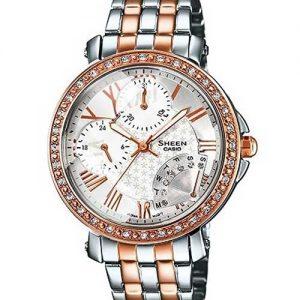 Casio Sx144 Sheen Series Shn-3011Sg-7Adr Silver Rose - Gold Analog - Multi Dail Ladies Wrist Watch