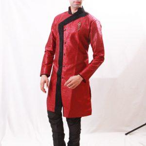 Incredibly Designed Velvet Work Jari Tanchoi Maroon Indo Western Kurta Pajama