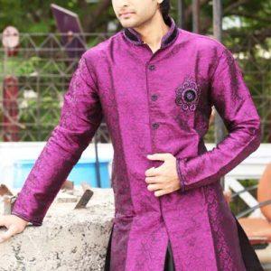 Fabulous Mandarin Collar Brocade Purple Indo Western Kurta Pajama