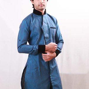 Semi-Kedia Brocade Winter Blue Indo Western Kurta Pajama