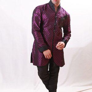 Rotex Brocade Fabric Lavender Indo Western Kurta Pajama