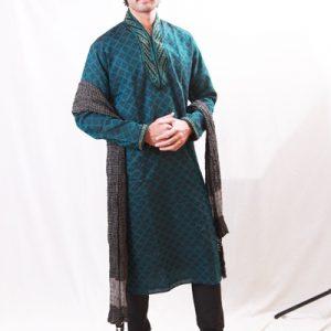 Outstanding Semi-High Neck Brocade Leaf Green Indo Western Kurta Pajama