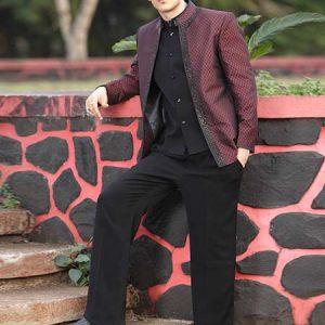 Mandarin Collar Nehru Black With Maroon Color Art Silk Fabric Jodhpuri Suits