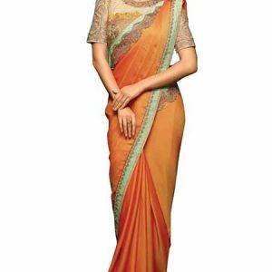 Orange Benglory & Net Silk Sequence & Thread Work Bollywood Saree