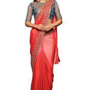 Chiffon Pink Embroidery Bollywood Saree