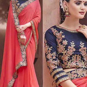 Red And Blue Moss Chiffon Silk Saree