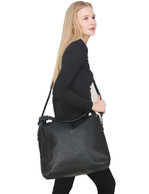 Black PU Zipper Shoulder Bag For Women