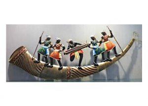 Trumpet 5 Adivasi People Wrought Iron Handicraft Wall Hanging Showpiece