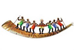 Trumpet 7 Adivasi People Wrought Iron Handicraft Wall Hanging Showpiece