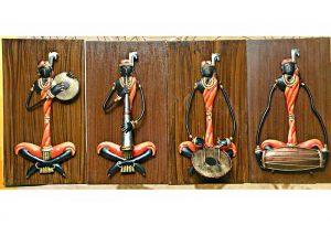 Adivasi Female Musician Wrought Iron Handicraft Wall Hanging Showpiece