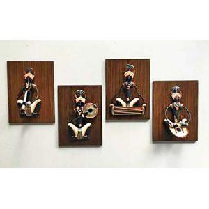 Aadivai Male Musician Wooden Background Wrought Iron Handicraft Wall Hanging Showpiece