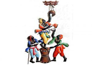 Krishna Makhan Chor Wrought Iron Handicraft Wall Hanging Showpiece