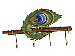 Peacock Feather Key Hanger Wrought Iron Handicraft Wall Hanging Showpiece