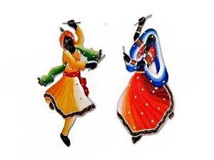 Dandiya Couple Wrought Iron Handicraft Wall Hanging Showpiece