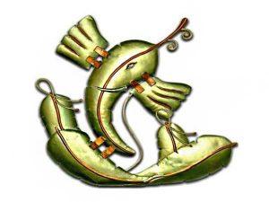 Banana Leaf Ganesha Wrought Iron Handicraft Wall Hanging Showpiece