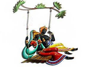 Radha Krishna Jhula-F Wrought Iron Handicraft Wall Hanging Showpiece
