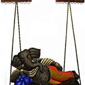 Sleeping Ganesha Jhula Wrought Iron Handicraft Wall Hanging Showpiece