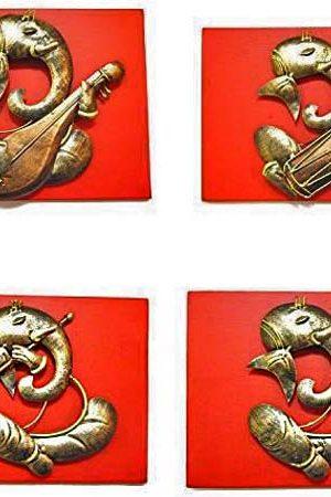 Ganesh Small-Musician-Set-Of-4 Wrought Iron Handicraft Wall Hanging Showpiece