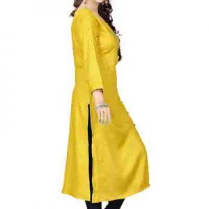 Velentino Rayon yellow Print Kurti