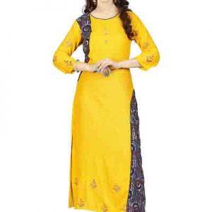 Velentino Rayon yellow Cambric Print Kurti