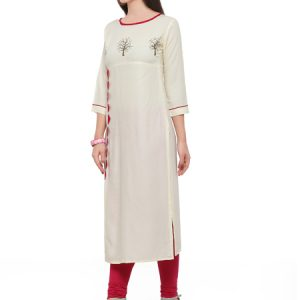 Velentino Rayon White Diamond Work Kurti
