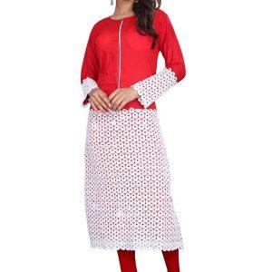 Velentino Red & White Rayon & Rassal Kurti