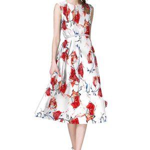Velentino White and Red Japan Satin Dress