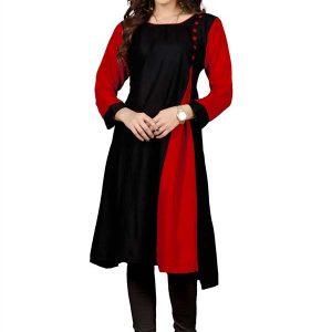 Velentino Black & Red Rayon Kurti