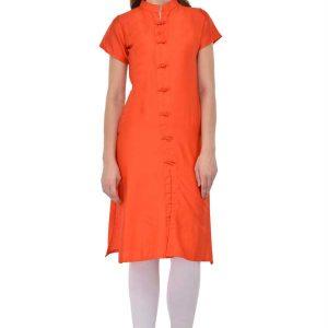 Velentino Orange Jam Silk Cotton Kurti