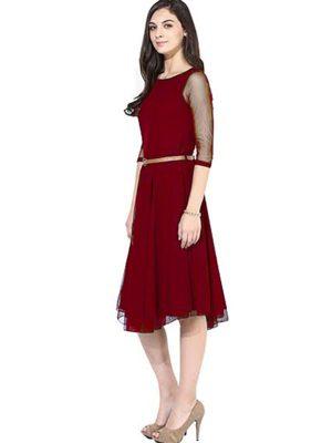 Exclusive Designer Maroon Dress